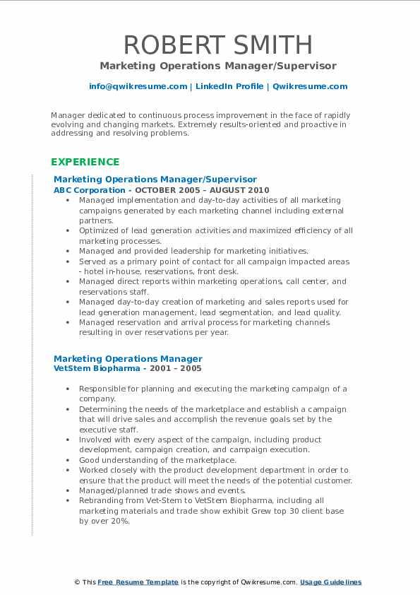 Marketing Operations Manager/Supervisor Resume Format