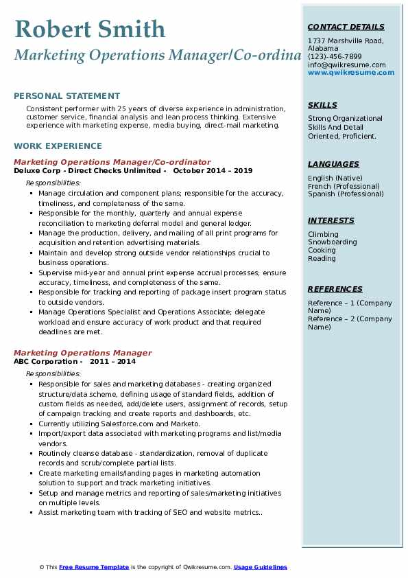 Marketing Operations Manager/Co-ordinator Resume Template