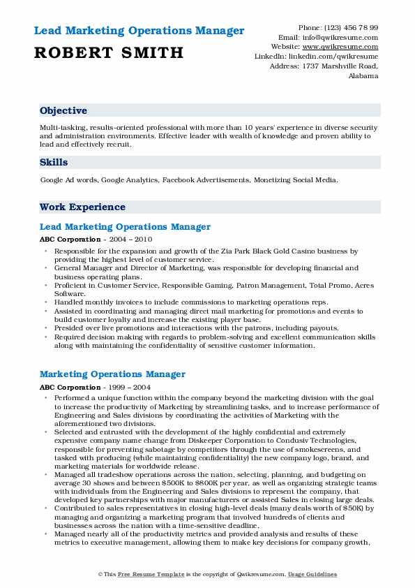Lead Marketing Operations Manager Resume Sample
