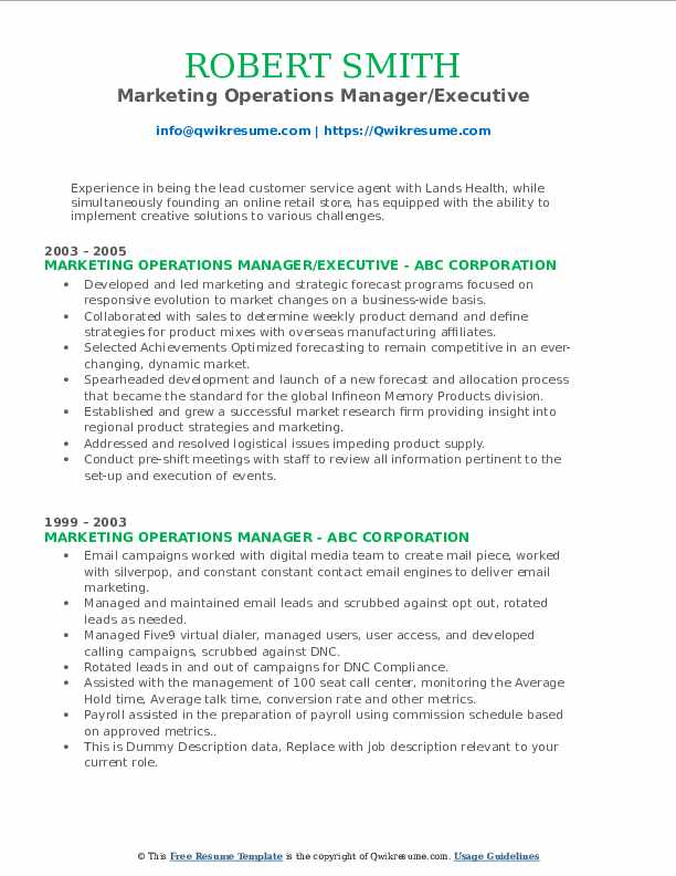 Marketing Operations Manager/Executive Resume Template