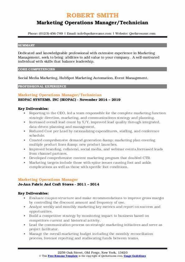 Marketing Operations Manager/Technician Resume Template