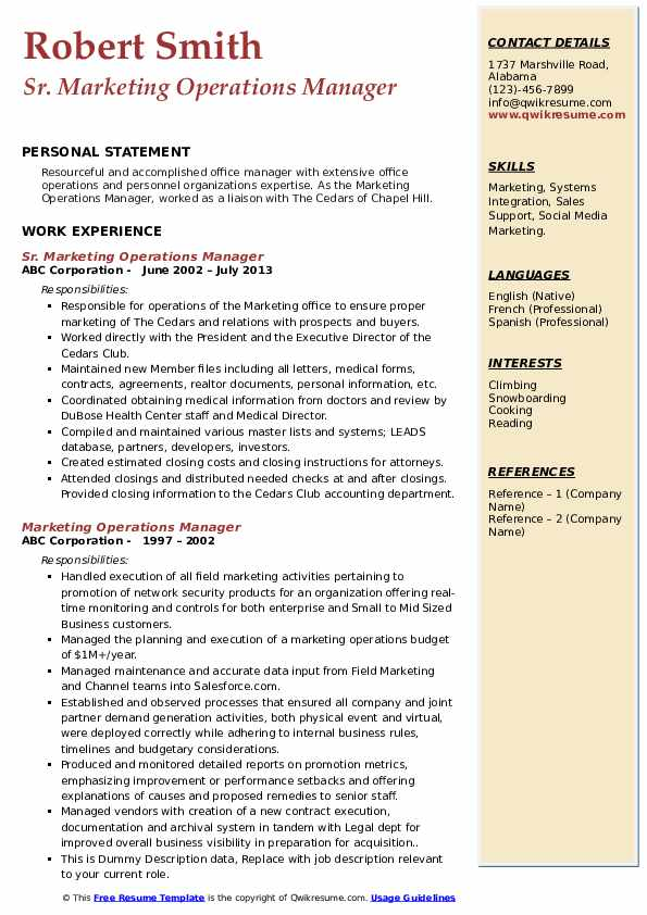 Sr. Marketing Operations Manager Resume Template