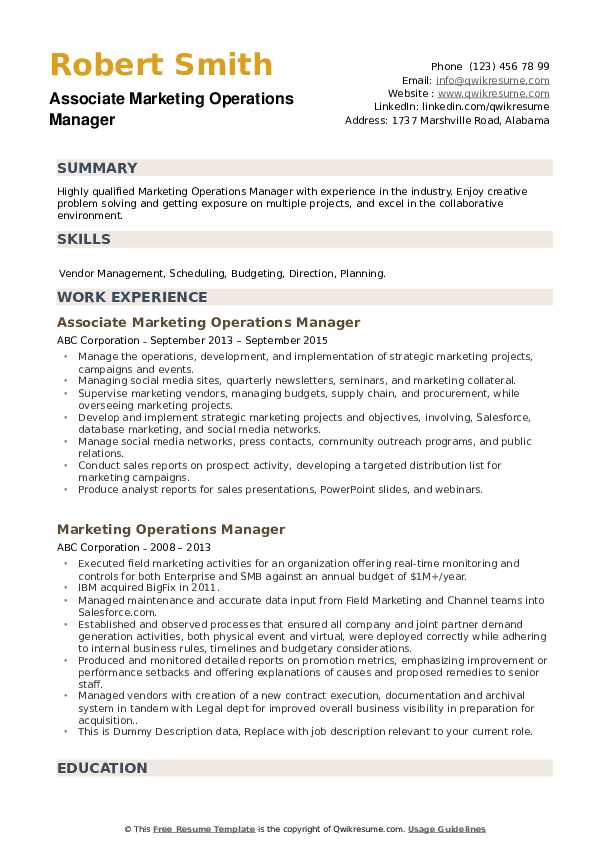 Associate Marketing Operations Manager Resume Example