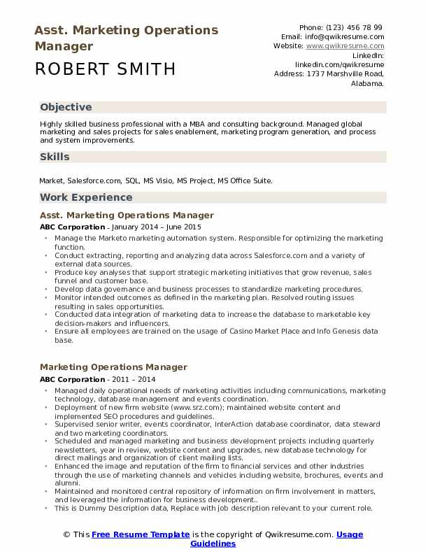 Asst. Marketing Operations Manager Resume Template
