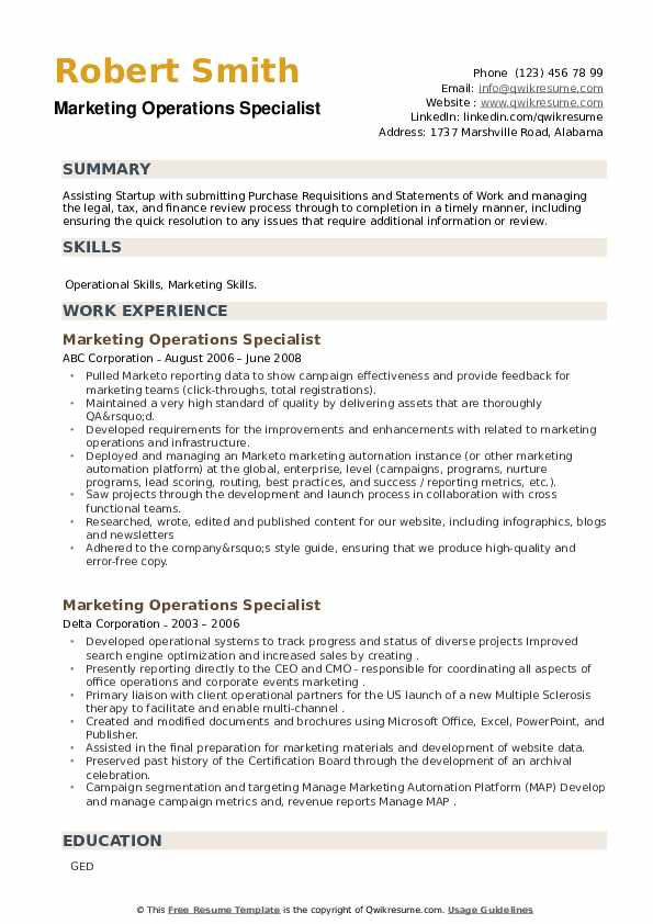 Marketing Operations Specialist Resume example