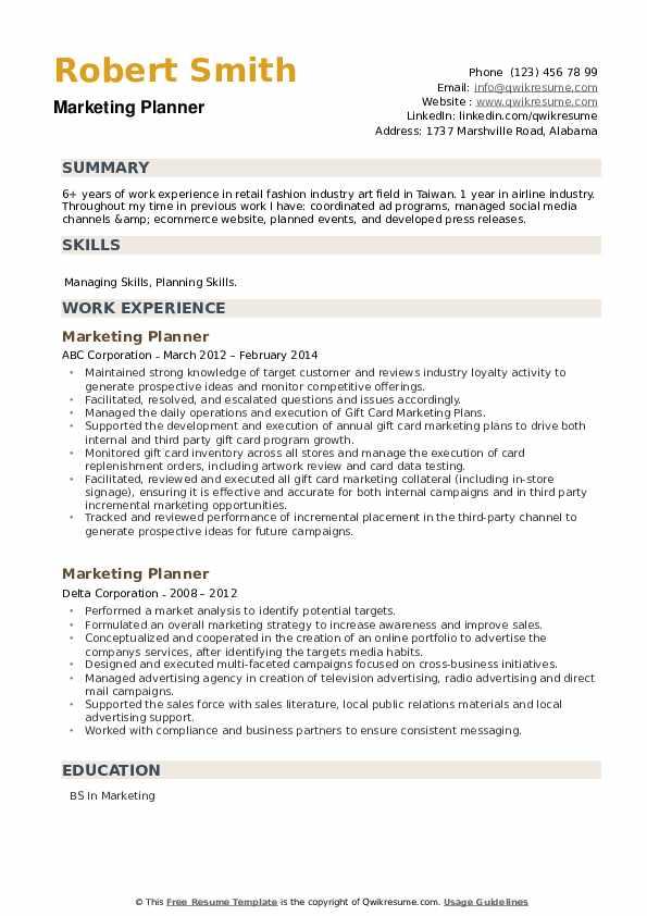 Marketing Planner Resume example