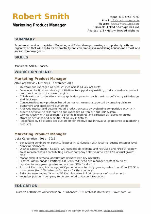 Marketing Product Manager Resume example