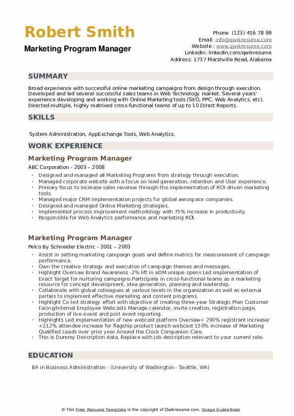 Marketing Program Manager Resume example