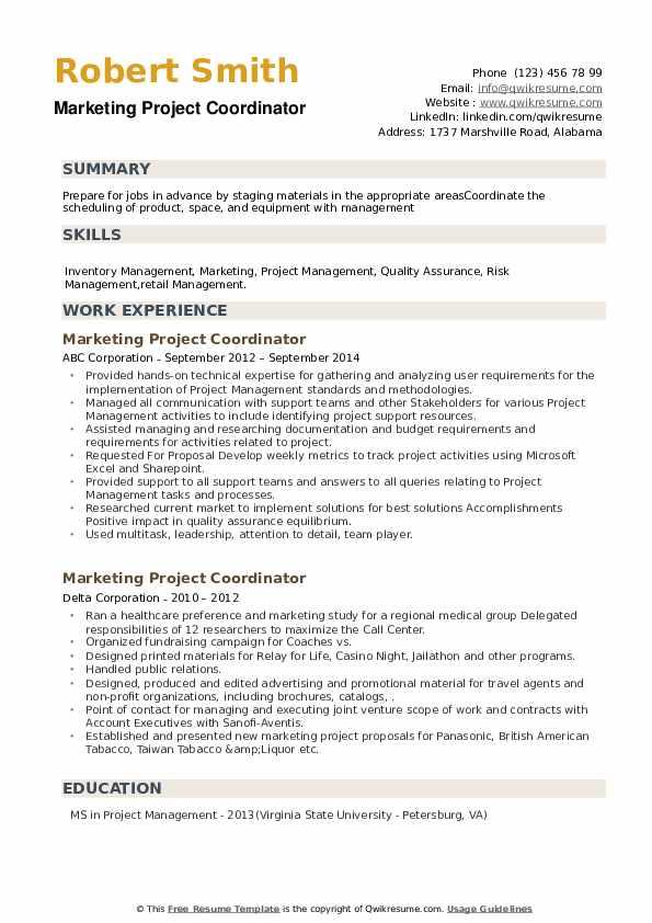 Marketing Project Coordinator Resume example