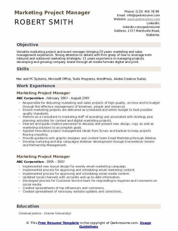 Marketing Project Manager Resume Samples Qwikresume