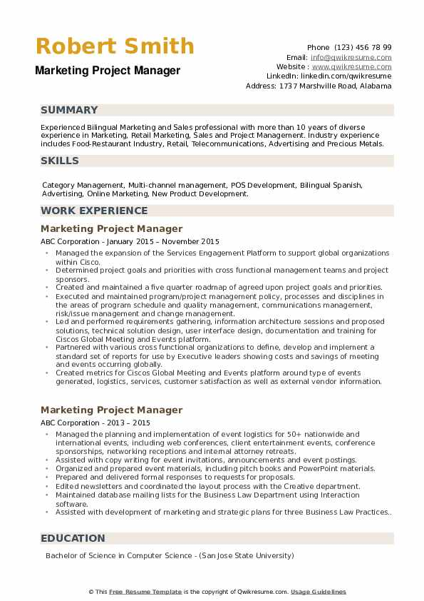 Marketing Project Manager Resume example