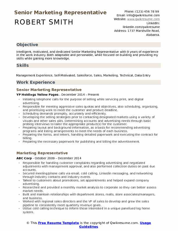Senior Marketing Representative Resume Format
