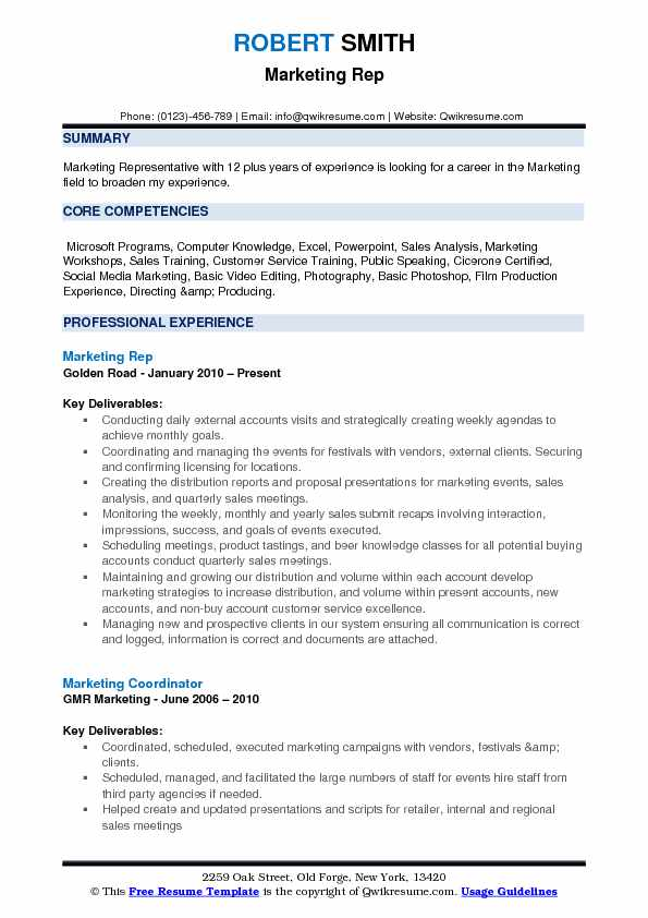 Marketing Rep Resume Example