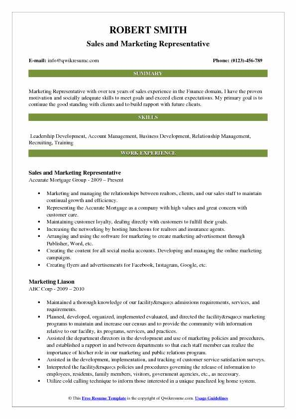 Sales and Marketing Representative Resume Model