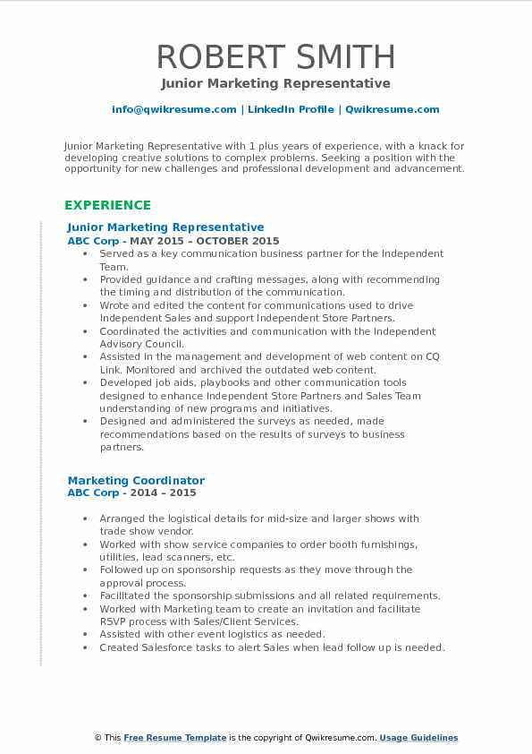 Junior Marketing Representative Resume Format