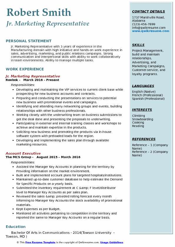 Jr. Marketing Representative Resume Format