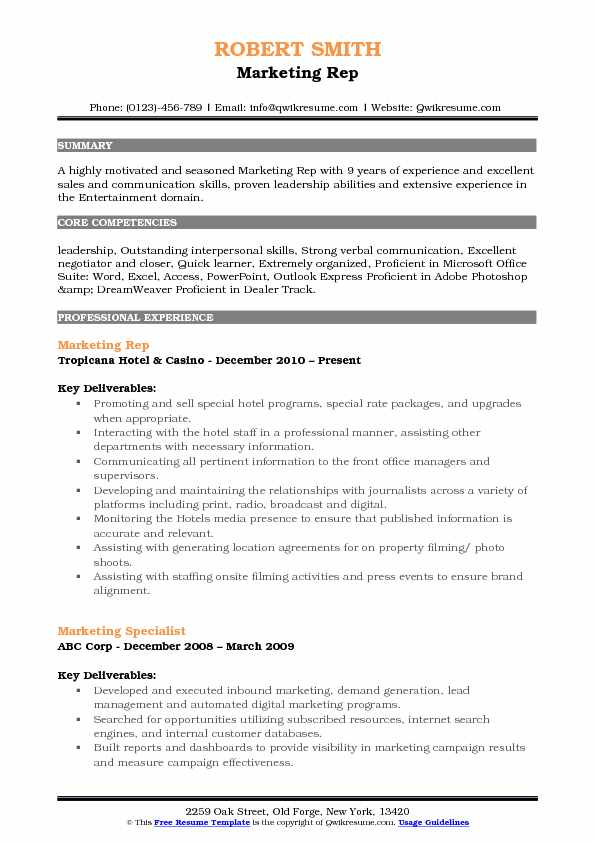 Marketing Rep Resume Format