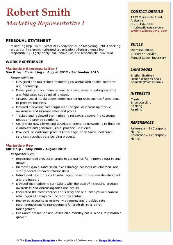 Marketing Representative I Resume Sample