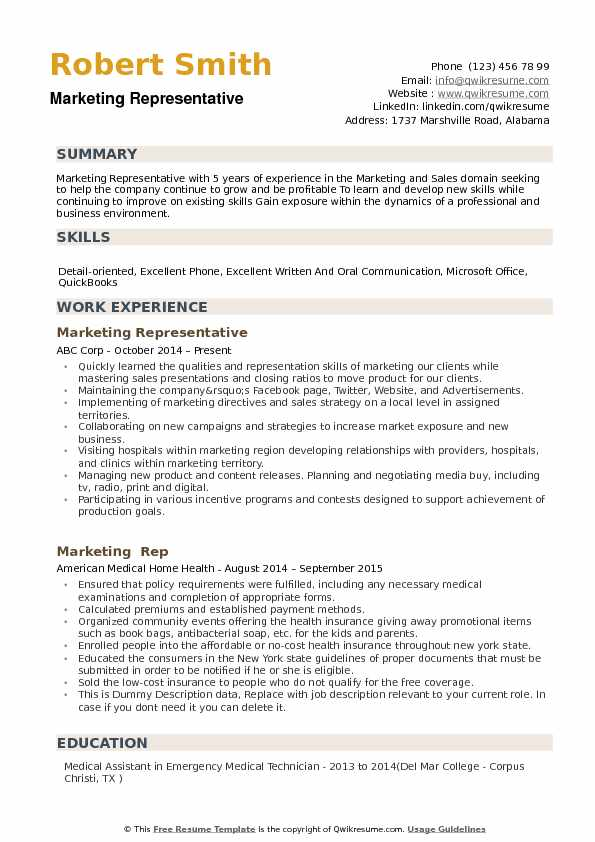 Marketing Representative Resume example