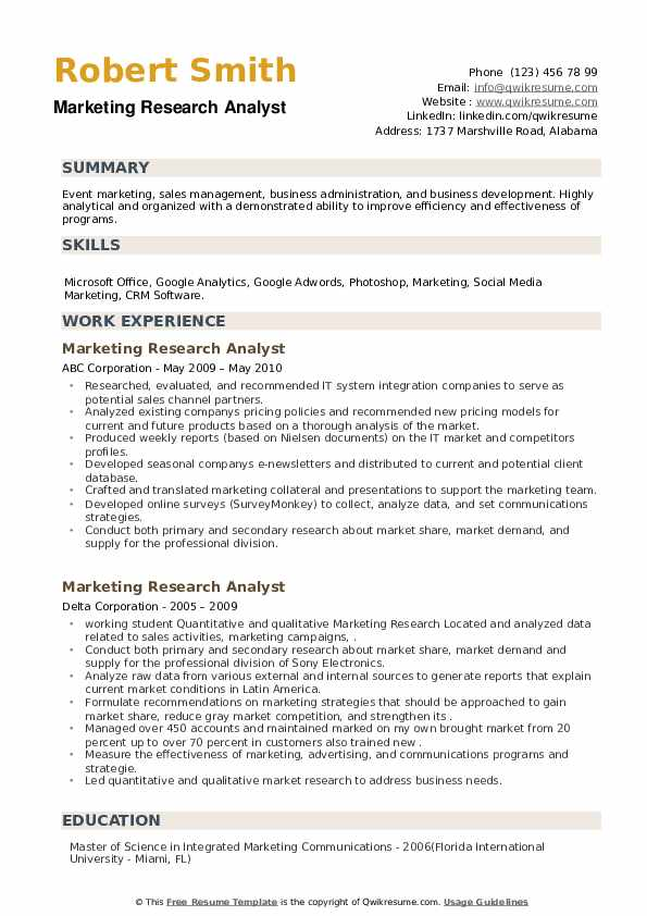 Marketing Research Analyst Resume example