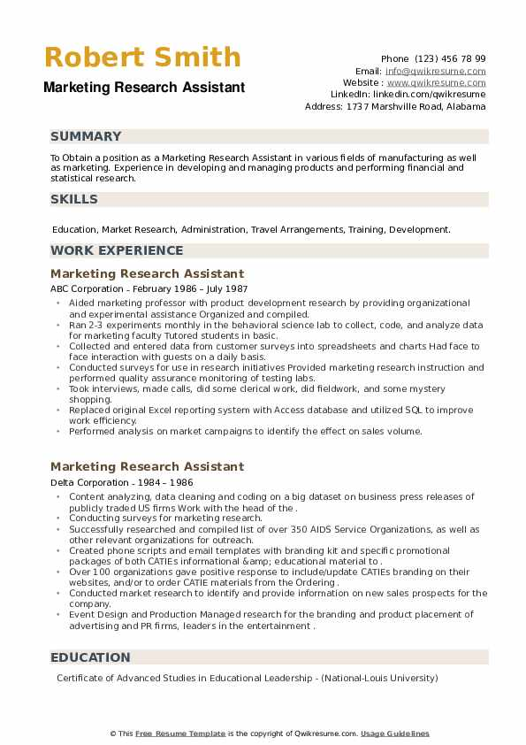 Marketing Research Assistant Resume example