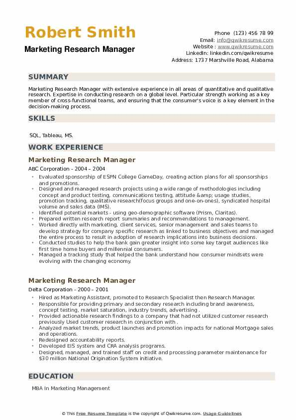 Marketing Research Manager Resume example