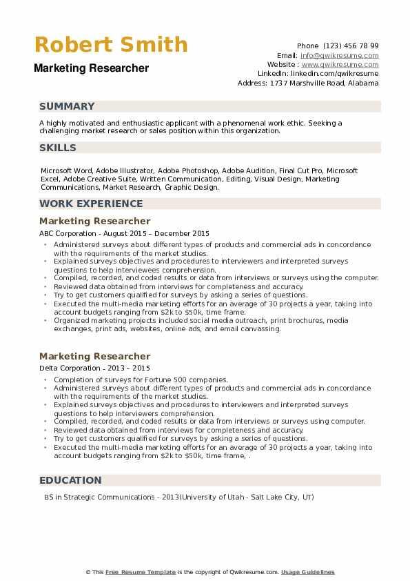 Marketing Researcher Resume example