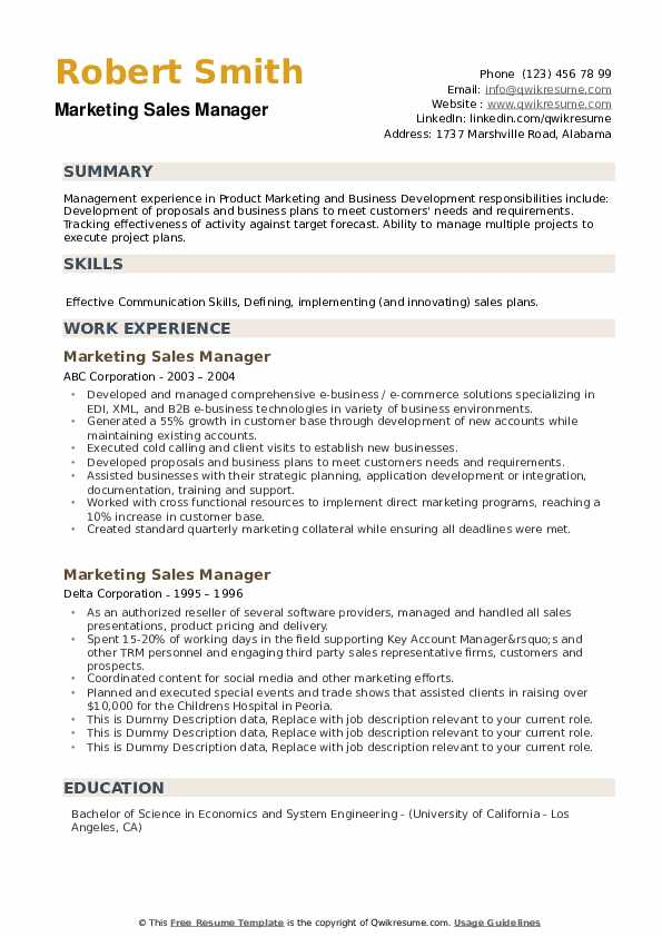 Marketing Sales Manager Resume example