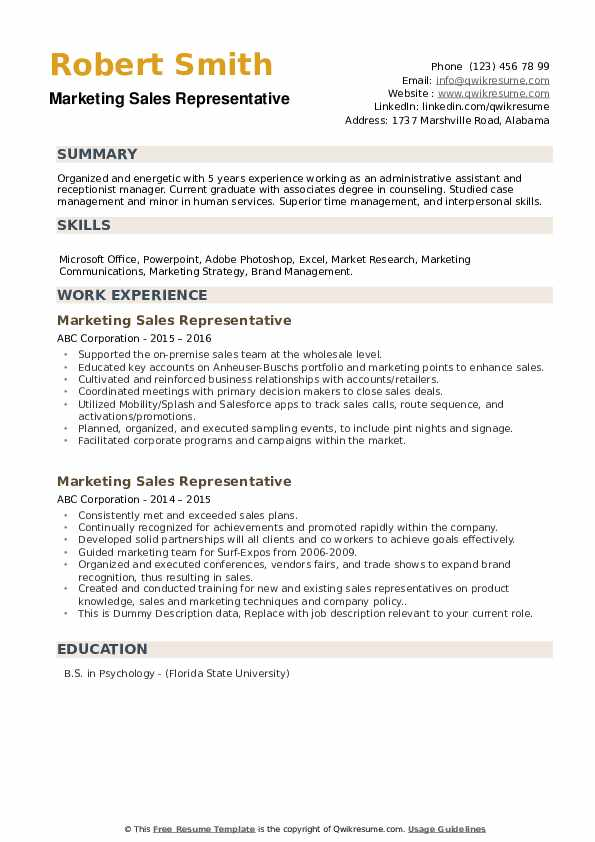 Marketing Sales Representative Resume example