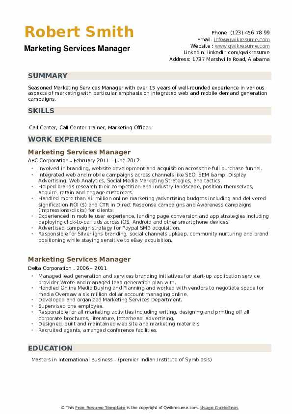 Marketing Services Manager Resume example