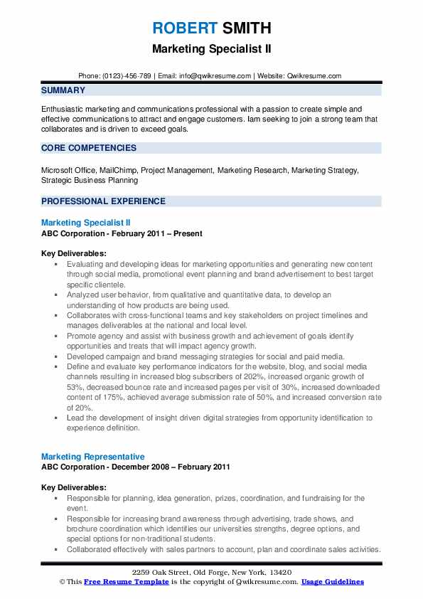 Marketing Specialist II Resume Format