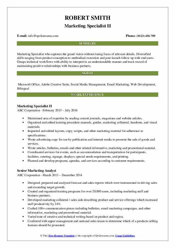Marketing Specialist II Resume Model