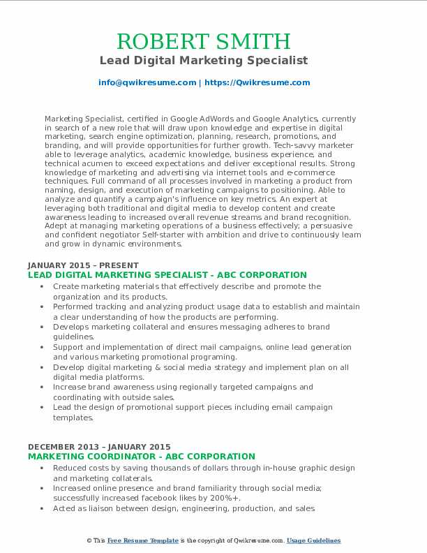 Lead Digital Marketing Specialist Resume Model