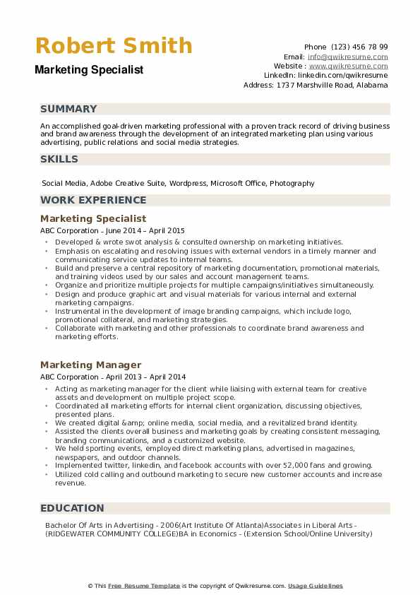 Marketing Specialist Resume Example