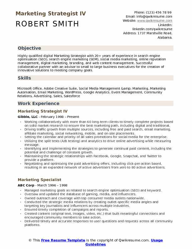 Marketing Strategist Resume Samples Qwikresume
