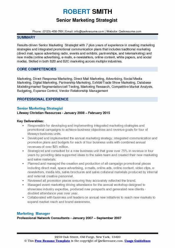 Senior Marketing Strategist  Resume Format