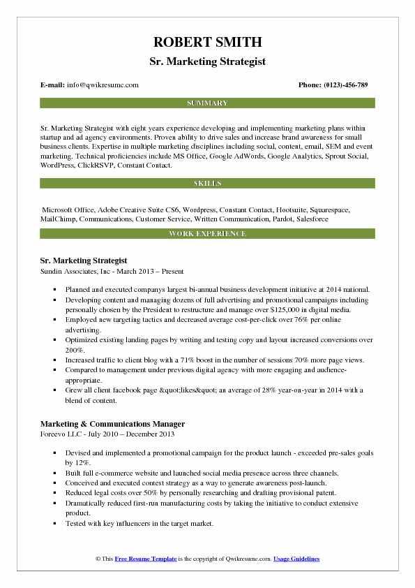 Sr. Marketing Strategist Resume Format