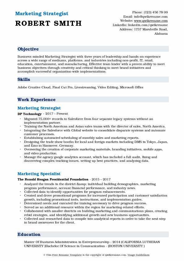 Marketing Strategist Resume Example