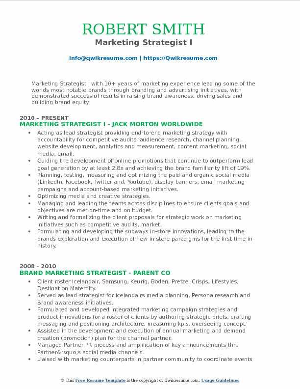 Marketing Strategist I Resume Format