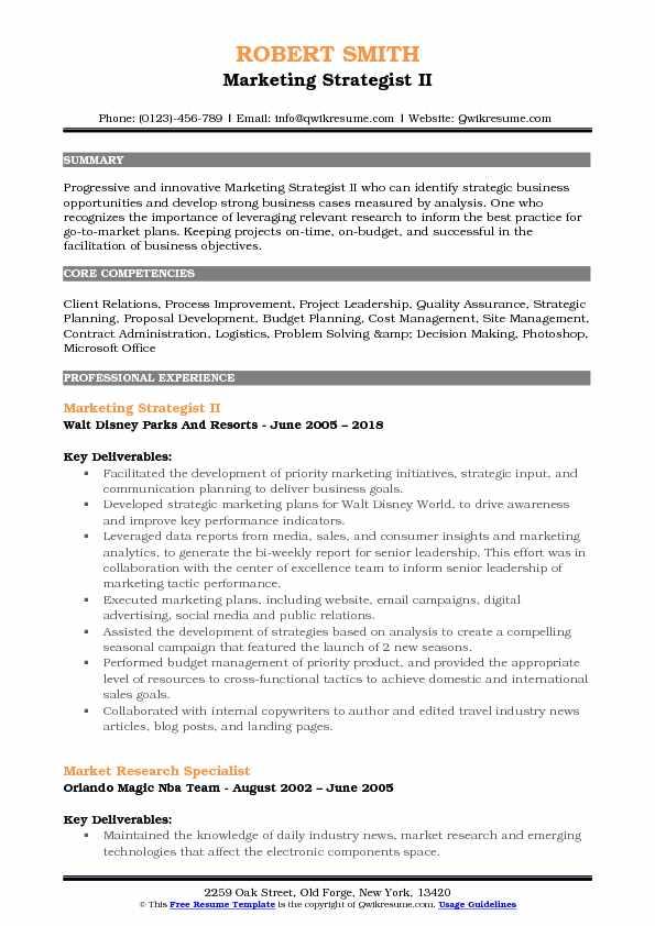 Marketing Strategist II Resume Example