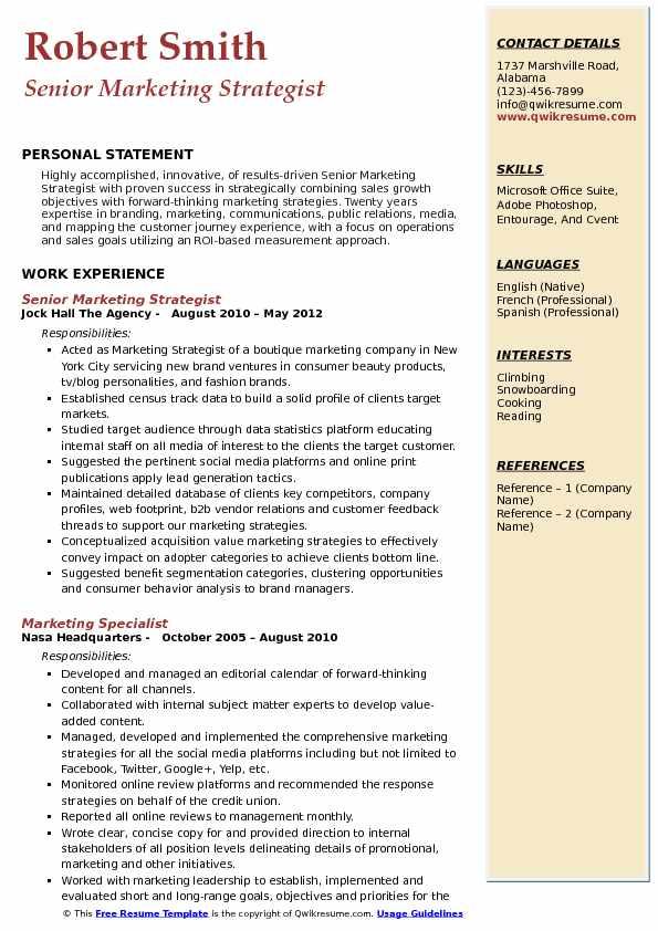 Senior Marketing Strategist Resume Sample