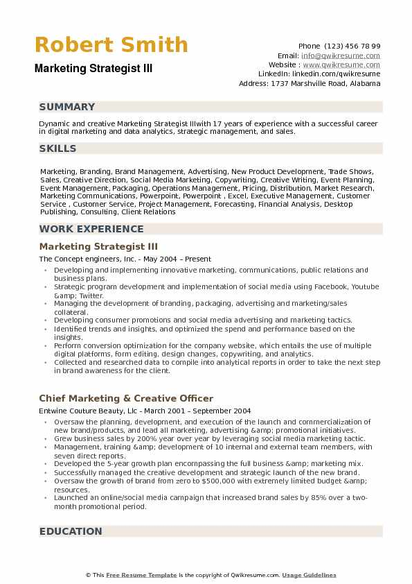 marketing strategist resume samples
