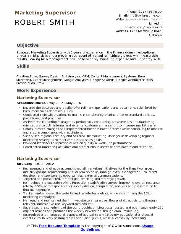 Marketing Supervisor Resume Model