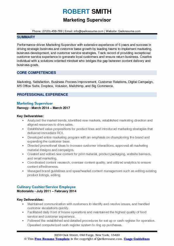 Marketing Supervisor Resume Samples | QwikResume