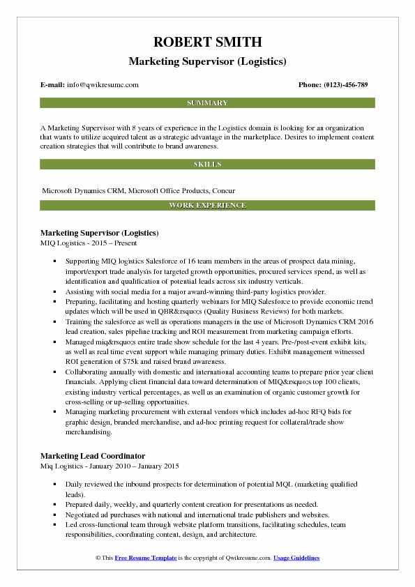 Marketing Supervisor (Logistics) Resume Model
