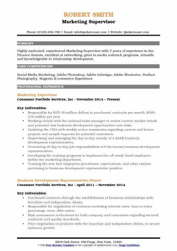 Marketing Supervisor Resume Format