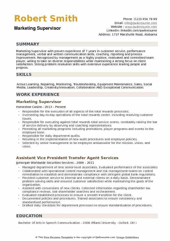 Marketing Supervisor Resume Samples | QwikResume
