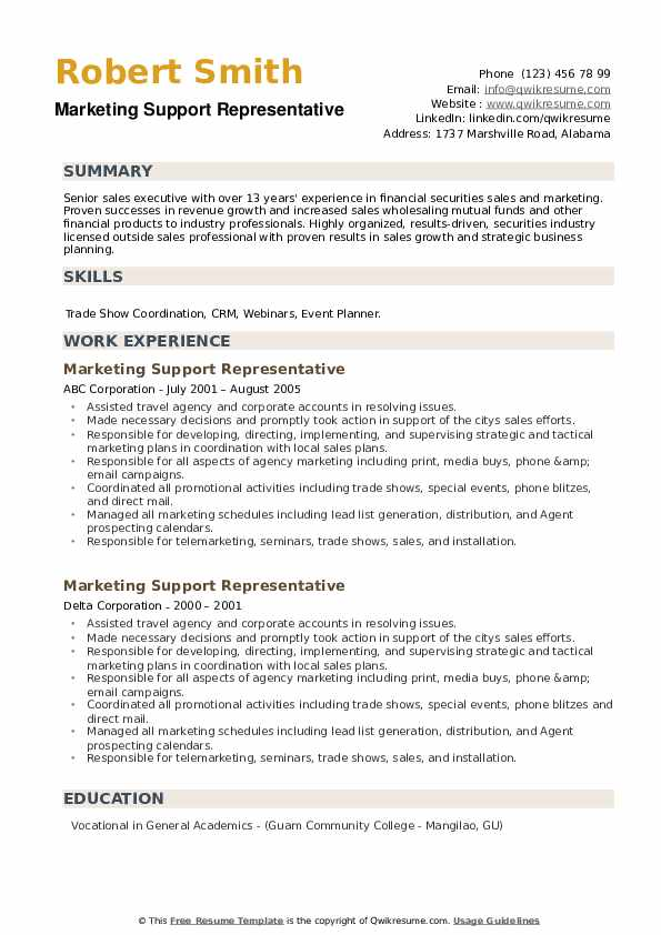Marketing Support Representative Resume example