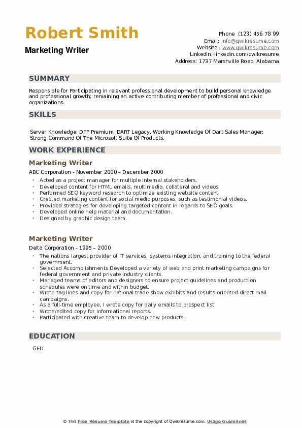 Marketing Writer Resume example