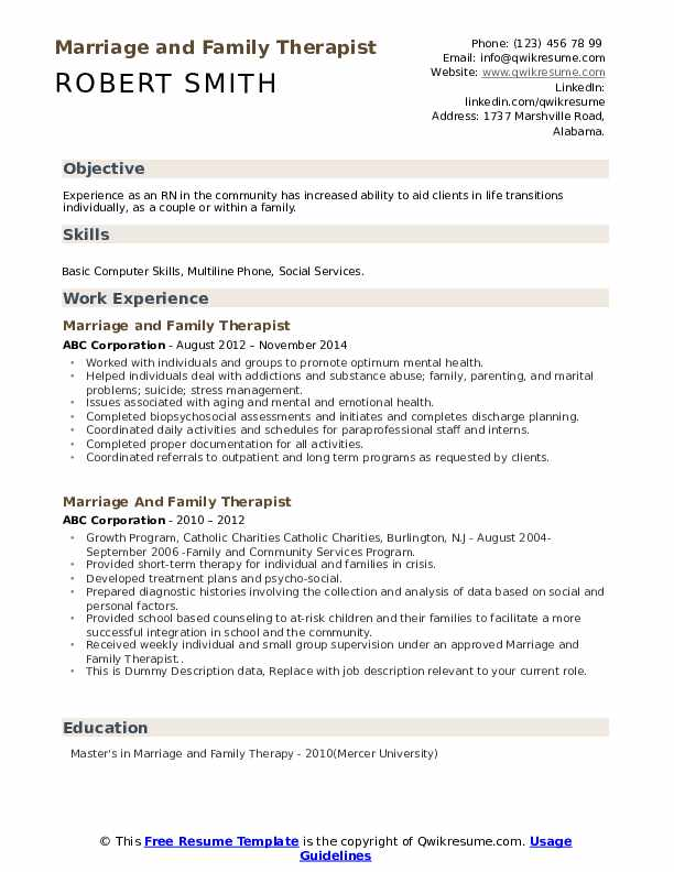 Marriage And Family Therapist Resume example